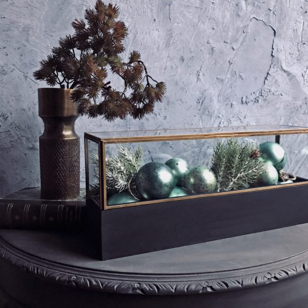 Curious Egg Small Wonders Antiqued Brass Display Case Large Lifestyle image.