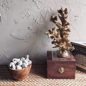 ornamental faux gold coral decoration on display on a wooden box beside a bowl of sea stone