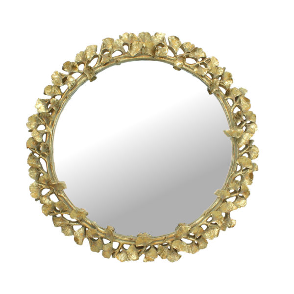 Curious Egg Gold Ginko Leaf Round Mirror