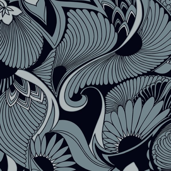 Florence Broadhurst Aubrey Wallpaper in Blue at Curious Egg