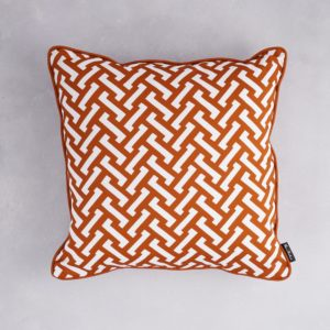 Florence Broadhurst Zig Zag Cotton Cushion in Burnt Orange at Curious Egg