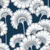 Florence Broadhurst Japanese Floral Wallpaper in Navy at Curious Egg