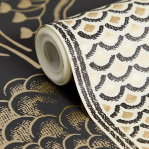 Florence Broadhurst Japanese Panels in black & gold wallpaper close up detail at Curious Egg