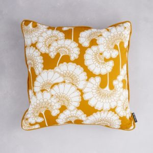 Florence Broadhurst Japanese Floral Cotton Cushion in Mustard at Curious Egg