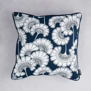 Florence Broadhurst Japanese Floral Cotton Cushion  in Navy at  Curious Egg