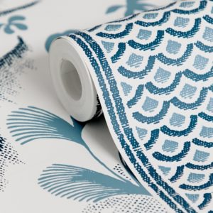 Florence Broadhurst Panels wallpaper in blue close up at Curious Egg