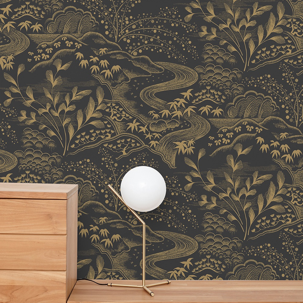 Florence-B-Waterfall-Gardens-Wallpaper-CharcoalGold-Curious-Egg-lifestyle-for-web