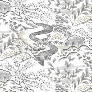 Florence Broadhurst Waterfall Gardens Wallpaper in Neutral at Curious Egg