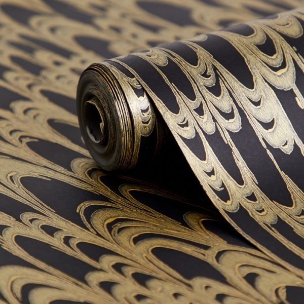 Florence Broadhurst Waterjet Wallpaper in Black & Gold close up at Curious Egg