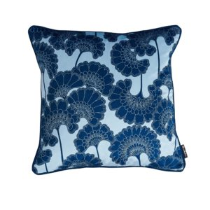 Florence Broadhurst Japanese Floral Velvet Cushion in Baby Blue at Curious Egg