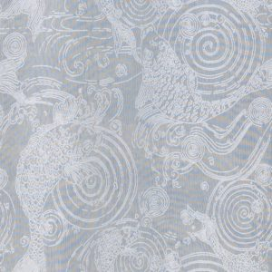 Ayrshire Lace Window Panel - Japanese Carp  Design. Closeup image of panel pattern design.