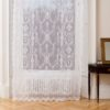 Ayrshire Lace Window Panel - Lucynda Design.  Lifestyle image of panel hanging in front of a traditional window.