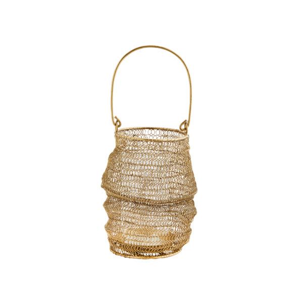 Curious Egg Gold Wire Knitted Outdoor Lantern