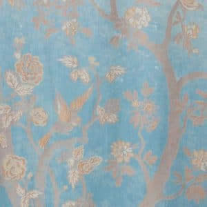 Ayrshire lace madras window panel - Paradiso in Turquoise colour. Closeup image of the panel design..