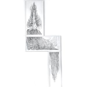 Triptych by Drew Mackie  etching at Curious Egg