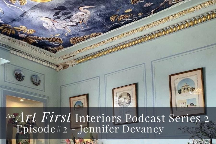fabric covered ceiling of interior designer Jennifer Devaney