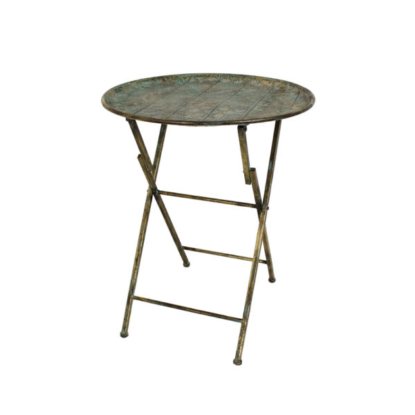 foldable gold metal table with intricate scallop design