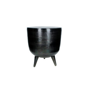 small black sculptural drum style metal side table with three legs