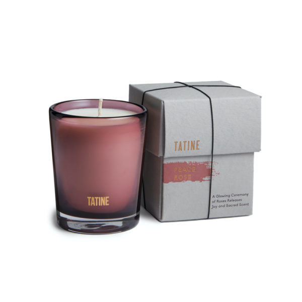 Tatine Peace Rose candle with packaging