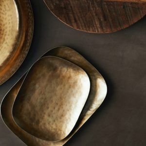 Curious Egg Hand Formed Brass Finish Tray Set