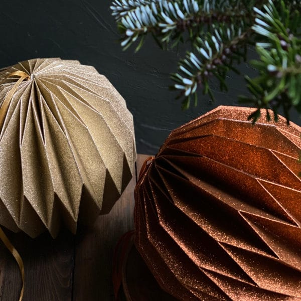 copper origami christmas ball decoration