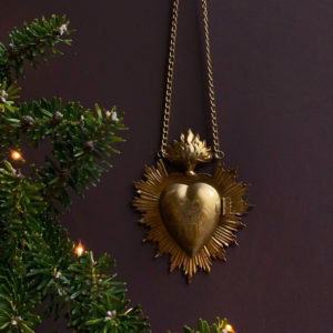 Curious Egg Flaming Heart 'Sunburst' Hanging MilagroChristmas Tree Decoration