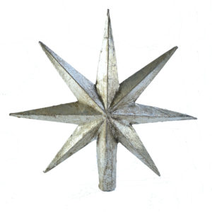 Curious Egg Florentine Burnished Silver Star Tree Topper  - 8 point