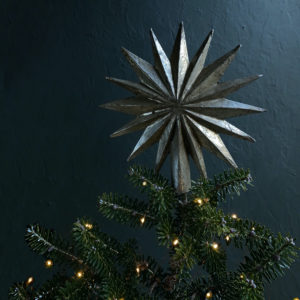 Curious Egg Florentine Burnished Silver Star Tree Topper - 16 point