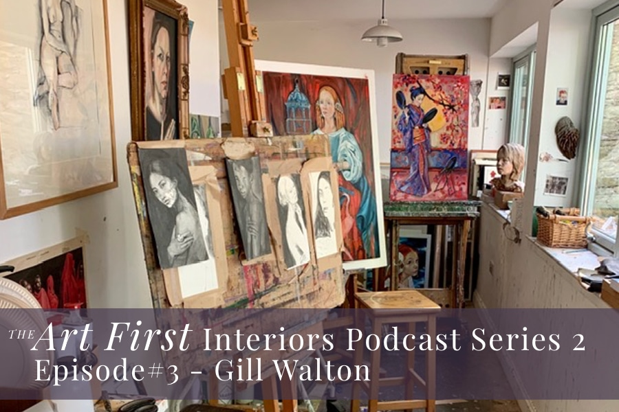 Gill Walton's artist studio for the Art First Interiors Podcast