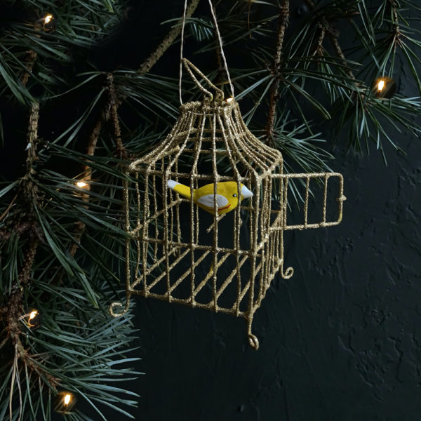 Curious Egg Gilded Songbird Cage Decoration  - Bird 2