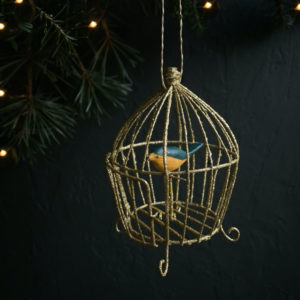 Curious Egg Gilded Songbird Cage Decoration  - Bird 3