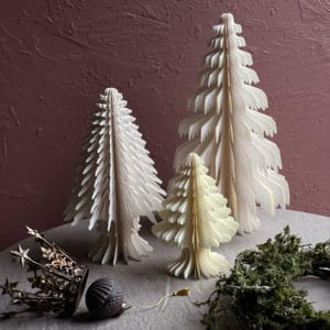 White paper tree christmas table decorations