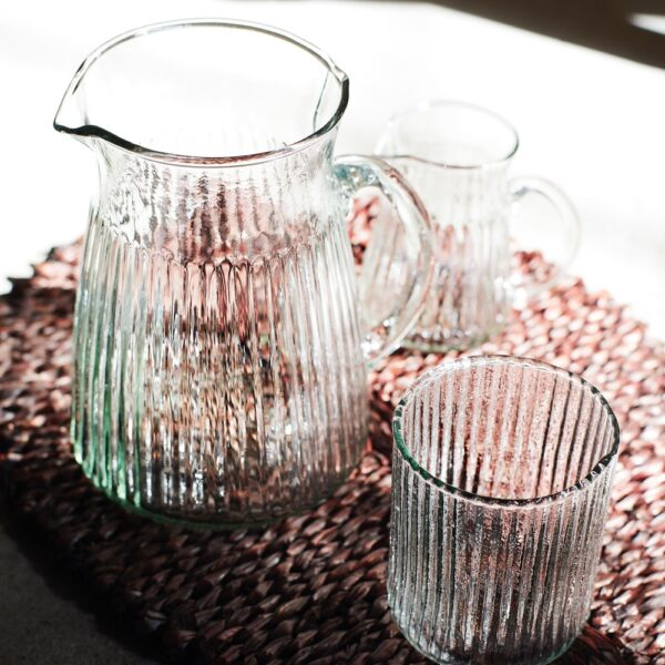 Curious Egg Vintage Style Ribbed Glass Jug