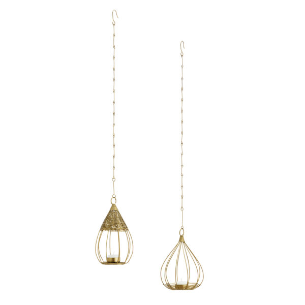 Curious Egg Little Bird Cage Hanging Candle Votives Set of 2 Cut Out Image
